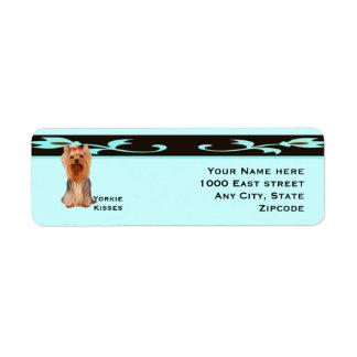 Yorkshire Terrier, Turquoise & Black Design Return Address Label