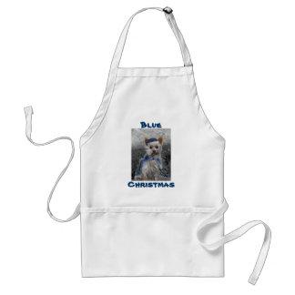 Yorkshire Terrier with Blue Santa Hat Standard Apron