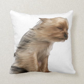 Yorkshire Terrier with Hair in the Wind Throw Pillow