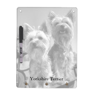 Yorkshire Terriers, Black & White, with Pen Dry Erase Whiteboards