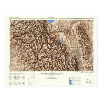 Yosemite and the Sierras--Vintage 1947 Map Postcard