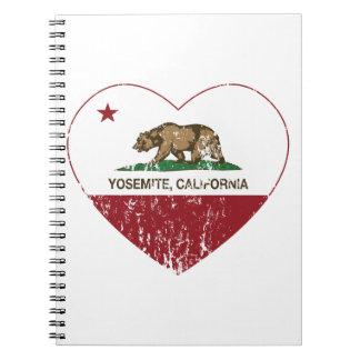 Yosemite California Republic Heart Distressed Spiral Note Book