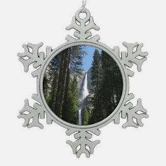 Yosemite Falls and Woods Landscape Photography Snowflake Pewter Christmas Ornament