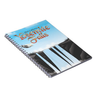 Yosemite Falls California travel poster Notebook