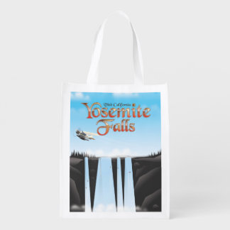 Yosemite Falls California travel poster Reusable Grocery Bag