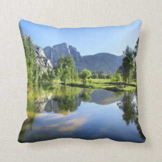 Yosemite Falls from Merced River - Yosemite Valley Throw Pillow