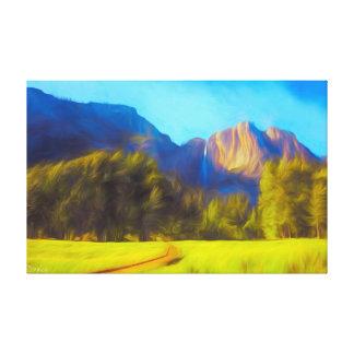 Yosemite Falls Painting Canvas Print