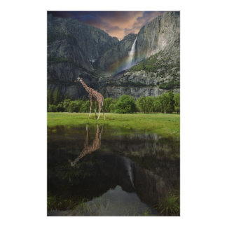 Yosemite falls rainbow giraffe poster