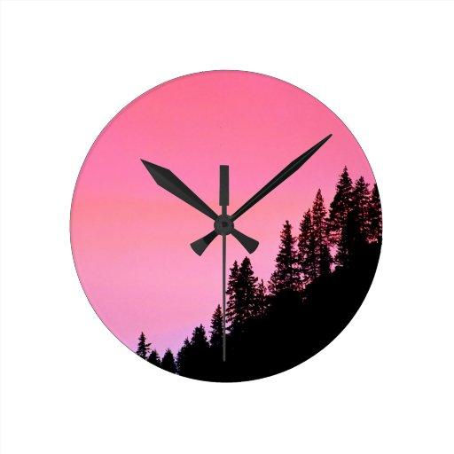 Yosemite Hillside Pines Park Round Wall Clocks