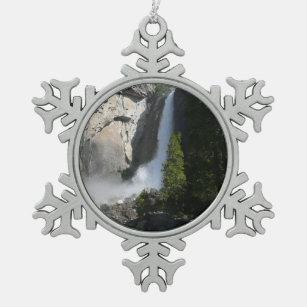 Yosemite Lower Falls from Yosemite National Park Snowflake Pewter Christmas Ornament