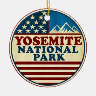 Yosemite National Park California Patriotic Ceramic Ornament