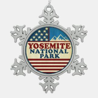 Yosemite National Park California Patriotic Snowflake Pewter Christmas Ornament