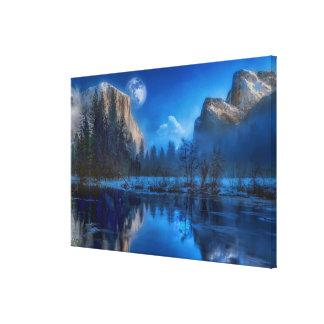 Yosemite national park moonlit night canvas print