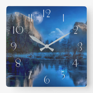 Yosemite national park moonlit night square wall clock