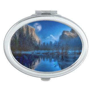 Yosemite national park moonlit night travel mirror