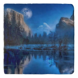 Yosemite national park moonlit night trivet