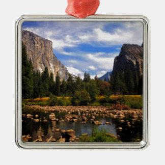 Yosemite National Park Silver-Colored Square Ornament