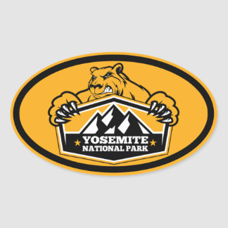 Yosemite Natl Park Gold Bear Oval Oval Sticker
