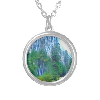 Yosemite No. 3 Mountain and Sun Silver Plated Necklace