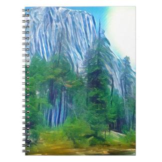 Yosemite No. 3 Mountain and Sun Spiral Notebooks