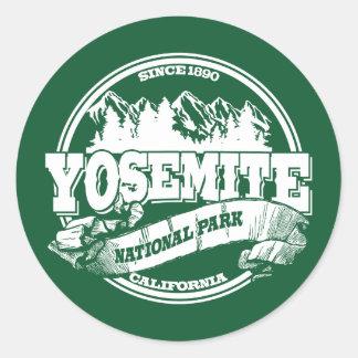 Yosemite Old Circle Green Round Sticker