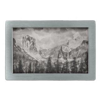 Yosemite Park in Winter Rectangular Belt Buckles
