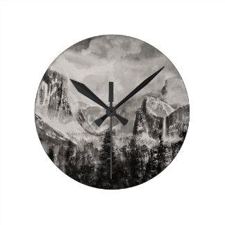Yosemite Park in Winter Round Clock