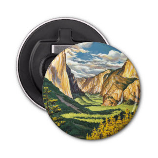 Yosemite Travel Art Button Bottle Opener