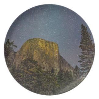 Yosemite Valley El Capitan night sky Dinner Plates