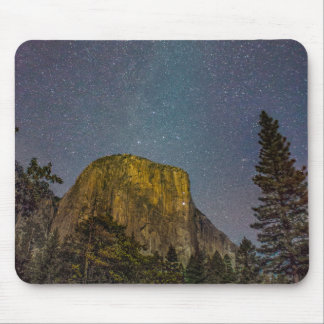 Yosemite Valley El Capitan night sky Mouse Pad