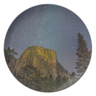Yosemite Valley El Capitan night sky Plate