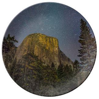 Yosemite Valley El Capitan night sky Porcelain Plates