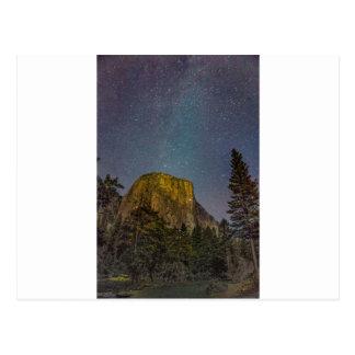 Yosemite Valley El Capitan night sky Postcard