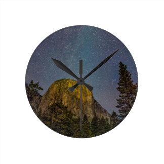 Yosemite Valley El Capitan night sky Round Clock