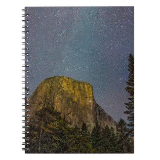 Yosemite Valley El Capitan night sky Spiral Notebook