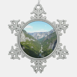 Yosemite Valley in Yosemite National Park Snowflake Pewter Christmas Ornament