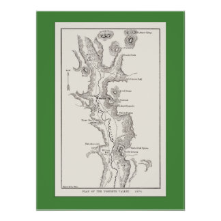 Yosemite Valley Map from 1876 Poster