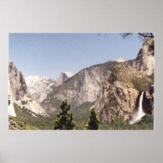 Yosemite Valley with falls n El Capitan n Half Dom Poster