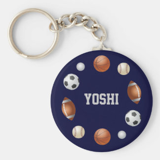 Yoshi World of Sports Name Keychain - Navy Blue