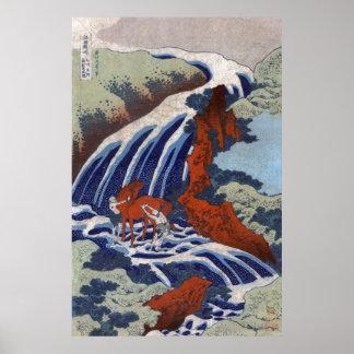 Yoshitsune Umarai waterfall at Yoshino in Washū Poster