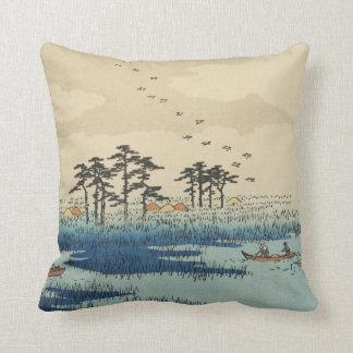 Yoshiwara, Japan: Vintage Woodblock Print Throw Pillow