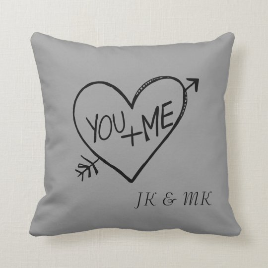 You and Me Heart Throw Pillow
