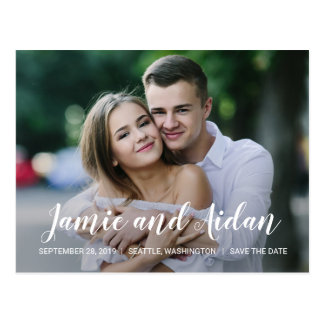 You and Me Modern Save The Date Postcard