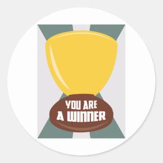 You Are A Winner Classic Round Sticker