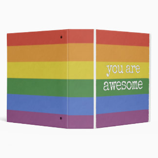 You Are Awesome Binder rainbow