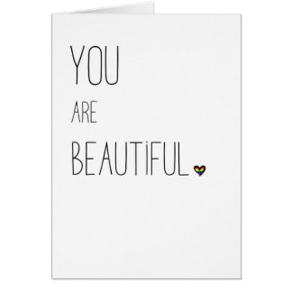 You Are Beautiful - LGBT - Rainbow Heart Card