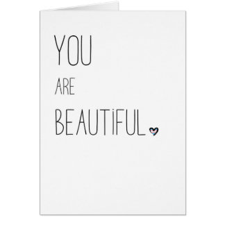 You Are Beautiful - LGBT - Transgender Flag Heart Card