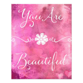 You Are Beautiful Quote Pink Watercolor Photo Print
