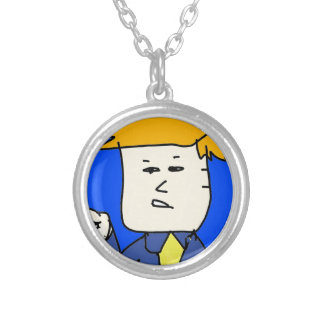 you are fired cartoon boy silver plated necklace