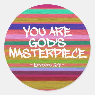 You Are God's Masterpiece Ephesians Quote Round Sticker